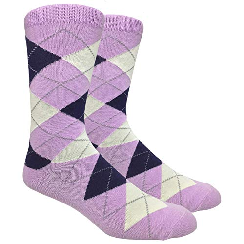 Men's FineFit Arygle Dress Trouser Socks Assorted Colors - You Choose! (Lavender)