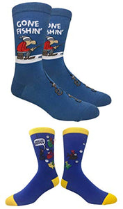 Novelty Fun Crew Print Socks for Dress or Casual (Fishing 2pack)