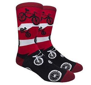 Fine Fit Men's Novelty Fun Crew Socks for Dress Casual (I Want to Ride My Bicycle - Red & Black)