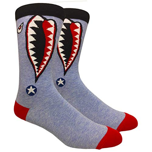 Novelty Fun Crew Print Socks for Dress or Casual (Tiger Shark #73)