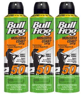 Bull Frog Mosquito Coast Spf50 Sunscreen & Repellant 5.5 Ounce (162ml) (3 Pack)