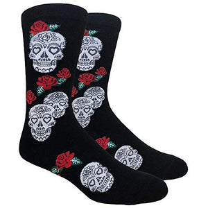 Men's Novelty Fun Dress Socks (Multiple Patterns to Select From) (Skulls & Roses - Black)