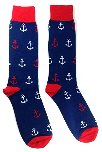 Novelty Fine Fit Crew Socks - Anchor (Navy Blue & Red Anchor)