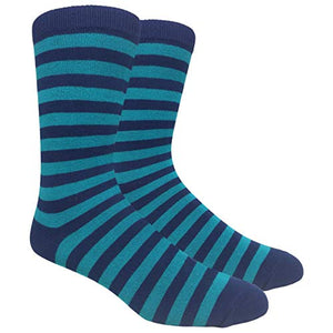 Tango11s Chckered World Men Cave Trouser Novelty Fun Crew Print Socks for Dress or Casual (Stripe Navy/Turquoise #SDB6)