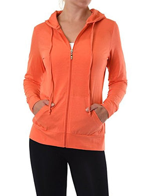 EttelLut Women Lightweight Cotton Pullover Hoodie Hair Band Coral S