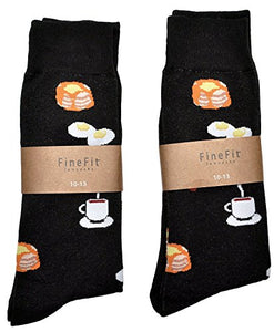 Fine Fit Mens Novelty Trouser Socks 2 Pair Set - Choose Prints (Breakfast)