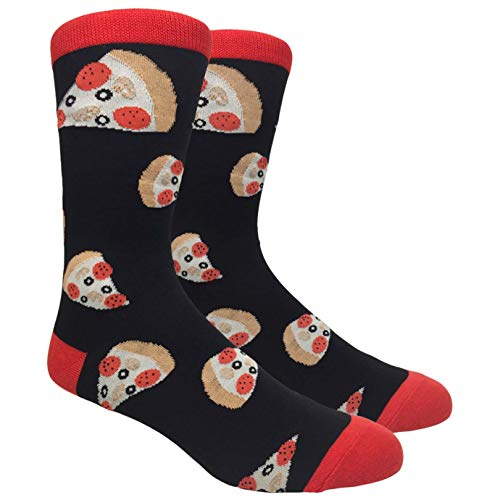 Tango11s Chckered World Men Cave Trouser Novelty Fun Crew Print Socks for Dress or Casual (Pizza Slice Black #30)