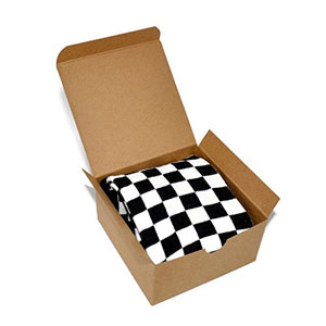Themed Patterned Men's Novelty Crew Socks 1 Pair in Small Gift Box (Checkered - Black)