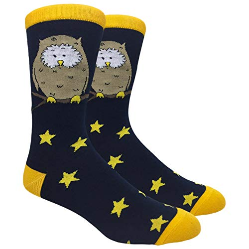 Tango11s Chckered World Men Cave Trouser Novelty Fun Crew Print Socks for Dress or Casual (Owl #20)