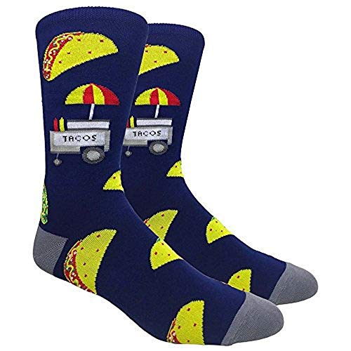 Fine Fit Men's Novelty Fun Crew Socks for Dress Casual (The Taco Stand - Navy/Grey)
