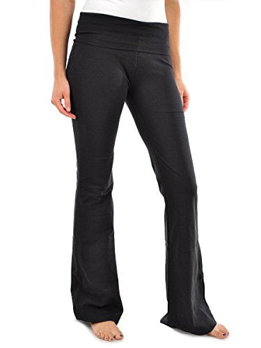 MOPAS Womens Solid Fitness Yoga Pants Black Small