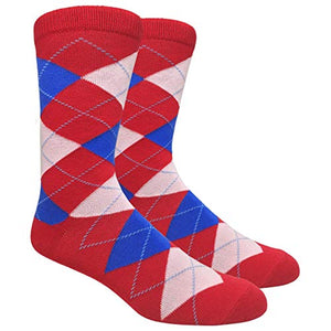 Tango11s Chckered World Men Cave Trouser Novelty Fun Crew Print Socks for Dress or Casual (Argyle Fire Red #ADB3)