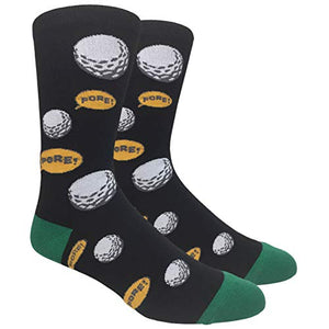 Fine Fit Men's Novelty Fun Socks (Golf Fore! - Black)