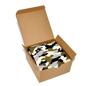 Themed Patterned Men's Novelty Crew Socks 1 Pair in Small Gift Box (Camo)