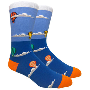Men's Hipster Blue Hot Air Balloons Novelty Crew Dress Socks