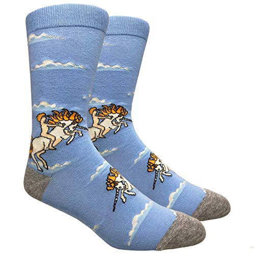 Tango11s Chckered World Men Cave Trouser Novelty Fun Crew Print Socks for Dress or Casual (Unicorn #75A)