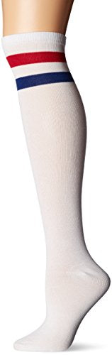K. Bell Women's Single Pack Fashion Pattern Knee High Socks, Tonal White Stripes, Shoe Size: 4-10