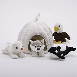 Plush 10-inch Snow House with 4 Stuffed Animals by Unipak