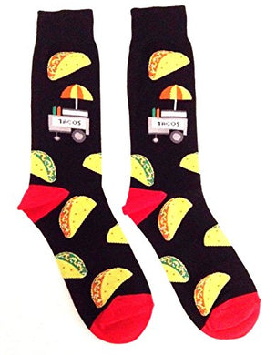 Fast Food Munchies Crew Socks (Taco Cart - Black & Red)