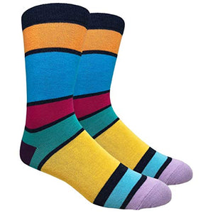 Tango11s Chckered World Men Cave Trouser Novelty Fun Crew Print Socks for Dress or Casual (Stripe Navy/Orange #SDB12)