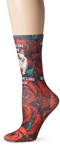 Grumpy Cat Women's Single Pack Stay Grumpy Crew Socks, Roses Are Red, 9-11