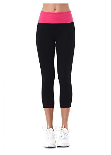 MOPAS Yoga Capri with Fold Over Solid Waistband, Pink, Medium