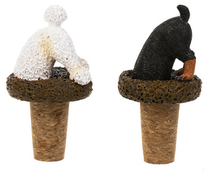 Ganz Bottoms Up Dog Wine Bottle Toppers-Yellow Short Tail