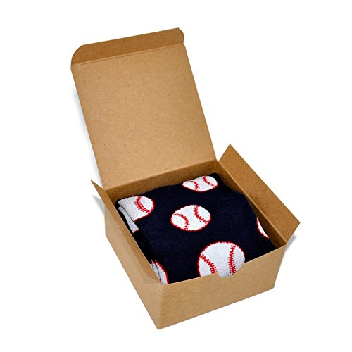 Themed Patterned Men's Novelty Crew Socks 1 Pair in Small Gift Box (Baseball - Navy Blue)