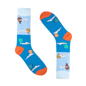 Novelty Socks for Men - Fun Colorful Dress Socks - Premium Cotton - Size 8-13 (One Pair) (Hot Air Balloon (Blue))