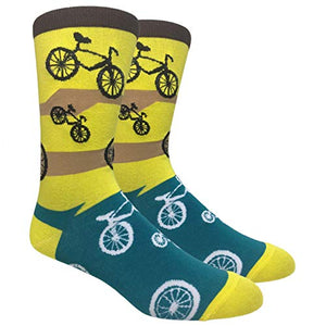 Tango11s Chckered World Men Cave Trouser Novelty Fun Crew Print Socks for Dress or Casual (Bicycle Green #48)