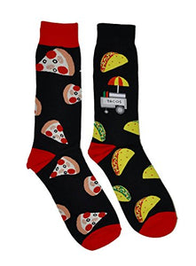 Socks 2 Pair Bundle FineFit Themed Pattern (Pizza & Tacos)