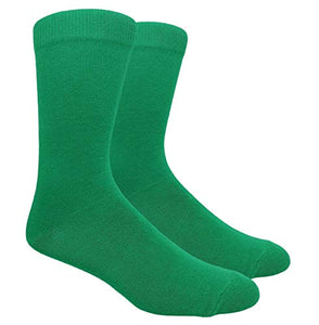 Novelty Fun Crew Print Socks for Dress or Casual (Solid Kelly Green #130KG)