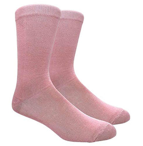 Novelty Fun Crew Print Socks for Dress or Casual (Solid Pink #130P)