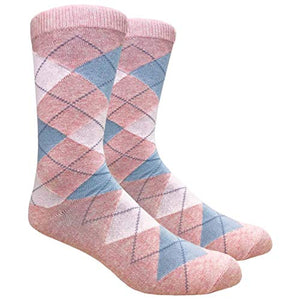 Men's FineFit Arygle Dress Trouser Socks Assorted Colors - You Choose! (Pink)