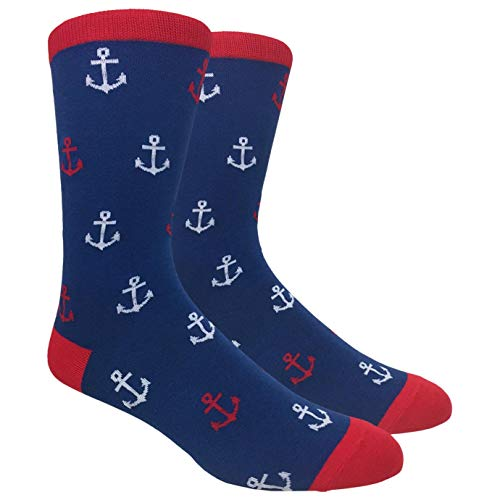 Tango11s Chckered World Men Cave Trouser Novelty Fun Crew Print Socks for Dress or Casual (Anchor Blue #58A)