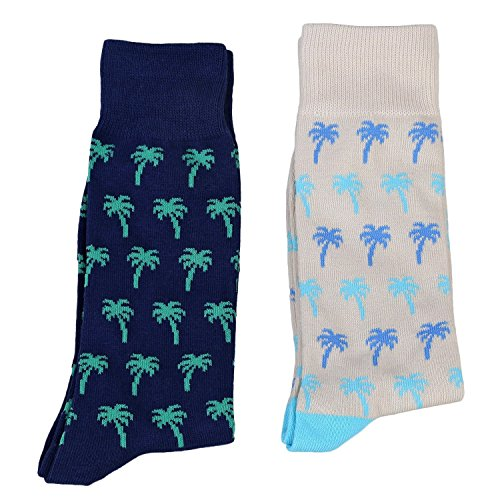 Fine Fit Mens Novelty Print Socks | 2 Pair Set | Trouser Socks | Casual | Crew | Palm Trees OS