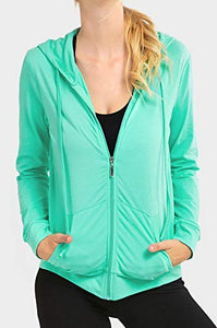 Tango11s Women's Thin Lightweight Cotton Long Sleeve Hoodie (Mint Zipup, Small)