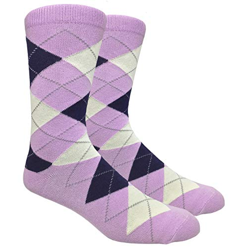 Tango11s Chckered World Men Cave Trouser Novelty Fun Crew Print Socks for Dress or Casual (Argyle Lilac #ADB5)