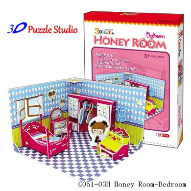 3D Puzzle Honey Room Bedroom. Cute for Kids, Fun & Educational.