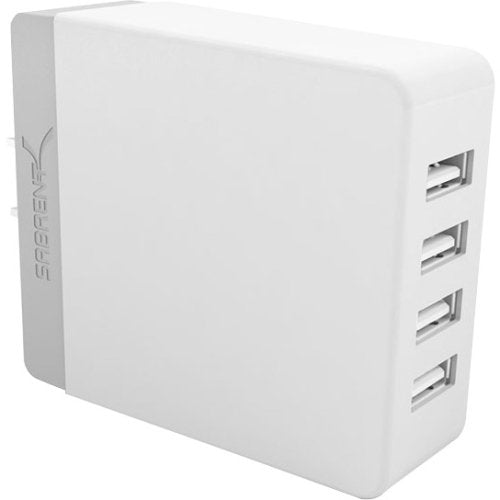 Sabrent 40 Watt (8 Amp) 4-Port Family-Sized Rapid USB Wall Charger. Smart USB Charger with Auto Detect Technology for iPhone 6 5s 5c 5, iPad Air mini, Galaxy S5 S4, Note 3 2, the new HTC One (M8), Nexus and More [White] (AX-U4PW)