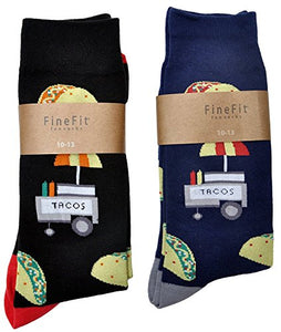 Fine Fit Mens Novelty Trouser Socks 2 Pair Set - Choose Prints (A Taco Stand)