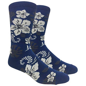 Tango11s Chckered World Men Cave Trouser Novelty Fun Crew Print Socks for Dress or Casual (Hawaiian Flower Blue #42)