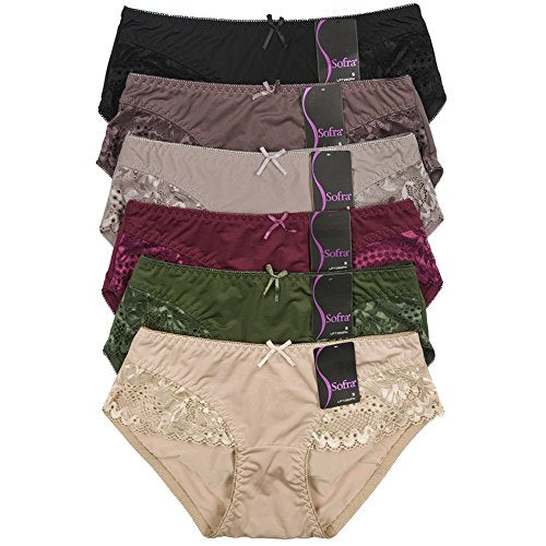 Mamia 6 Pack of Women's Lace Boyshort Panties-Small-Gill