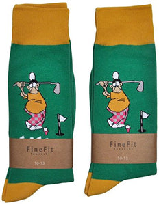 Fine Fit Mens Novelty Trouser Socks 2 Pair Set - Choose Prints (Golf Nut)