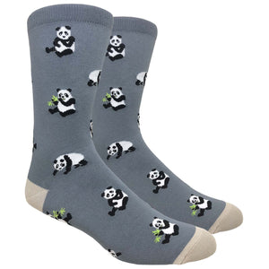 Tango11s Chckered World Men Cave Trouser Novelty Fun Crew Print Socks for Dress or Casual (Panda Grey #86A)