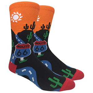 Tango11s Chckered World Men Cave Trouser Novelty Fun Crew Print Socks for Dress or Casual (Route 66#67)