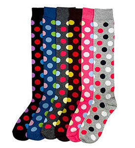 MAMIA 6 Pack Women Multi Pattern Playful and Colorful Knee High Socks-DOT