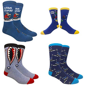 Novelty Fun Crew Print Socks for Dress or Casual (Fishing or Fished 4pack)