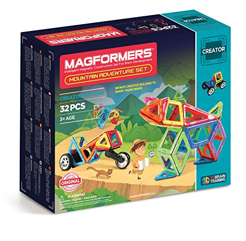 Magformers Mountain Adventure 32 Pieces Rainbow Colors, Educational Magnetic Geometric Shapes Tiles Building STEM Toy Set Ages 3+