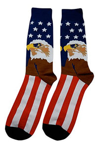 Fine Fit New! Bald Eagle & US Flag Socks